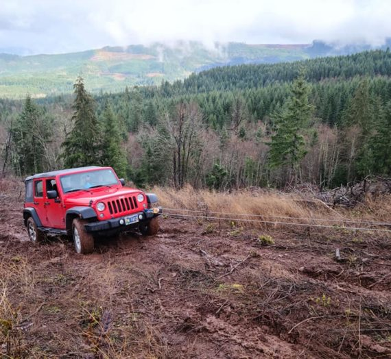 Jeep stuck in mud